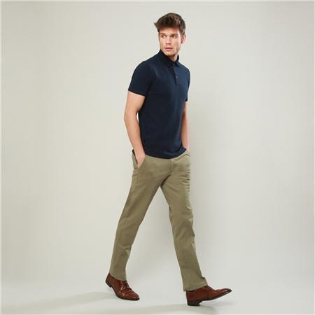 Olive Dungloe Washed Classic Fit Trousers  - Click to view a larger image