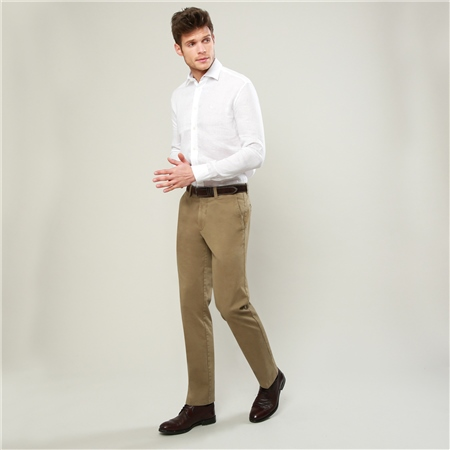 Taupe Dungloe Washed Classic Fit Trouser  - Click to view a larger image