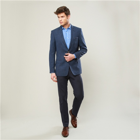 Navy Moyra Slim Fit Trousers  - Click to view a larger image