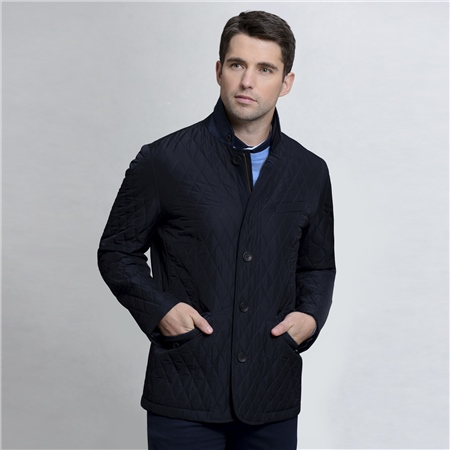 Navy Claggan Quilted Tailored Fit Jacket   - Click to view a larger image