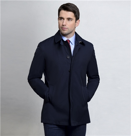 Navy Delvin Classic Fit Raincoat   - Click to view a larger image