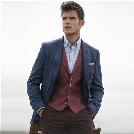 Raspberry Tailored Fit Waistcoat  - Click to view a larger image