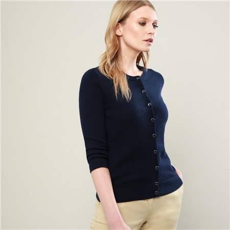Navy Beatrice Tailored Fit Cardigan  - Click to view a larger image