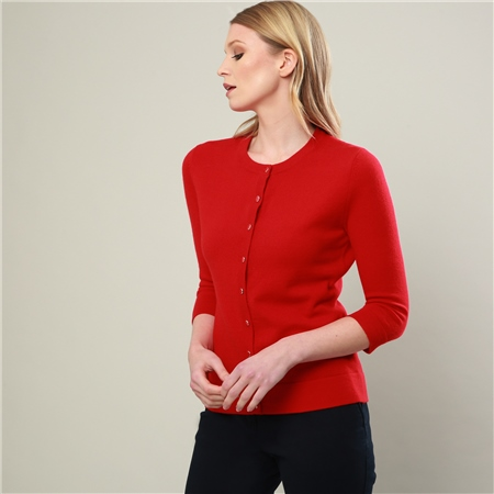 Magee 1866 - Red Beatrice Tailored Fit Cardigan