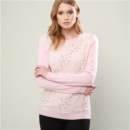 Pink Chloe Liberty Print Panel Jumper  - Click to view a larger image