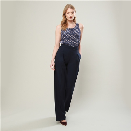 Navy Willow Wide Leg Trousers  - Click to view a larger image