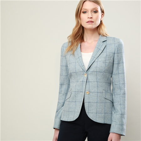 Blue Lily Checked Donegal Tweed Tailored Fit Jacket   - Click to view a larger image