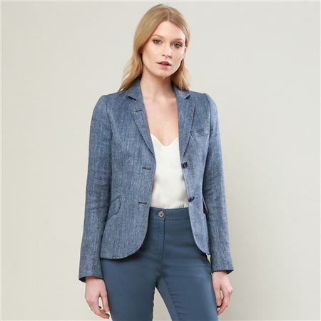 Blue Lily Silk & Linen Tailored Fit Jacket   - Click to view a larger image
