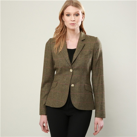 Green Lily Overcheck Donegal Tweed Tailored Fit Jacket  - Click to view a larger image