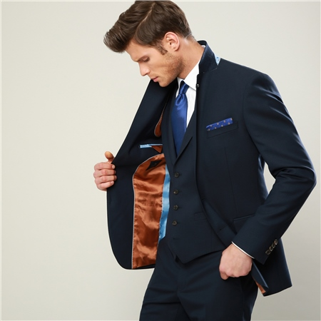 4a62378aad24 Navy Geometric Design 3-Piece Tailored Fit Suit | Seasonal ...
