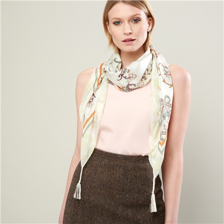 Grey Patterned Ladies Scarf  - Click to view a larger image