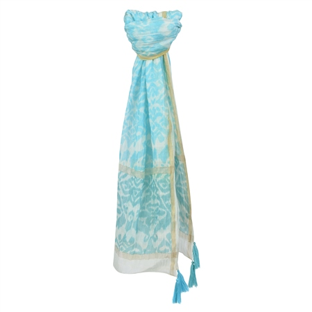 Blue Print Cotton Blend Scarf  - Click to view a larger image