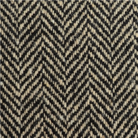 Cream & Black Herringbone Donegal Tweed  - Click to view a larger image