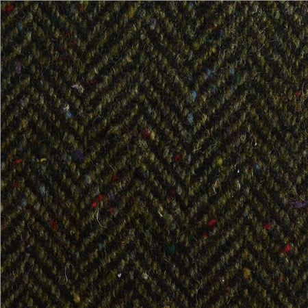 Green & Navy Herringbone Flecked Donegal Tweed  - Click to view a larger image