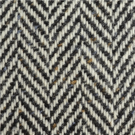 Black & White Herringbone Flecked Donegal Tweed  - Click to view a larger image
