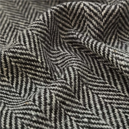 Black & White Herringbone Donegal Tweed  - Click to view a larger image