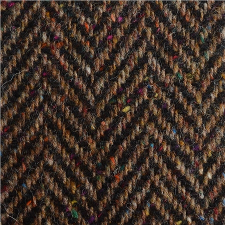 Black & Brown Herringbone Flecked Donegal Tweed  - Click to view a larger image