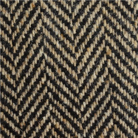 Black & Oat Herringbone Donegal Tweed  - Click to view a larger image