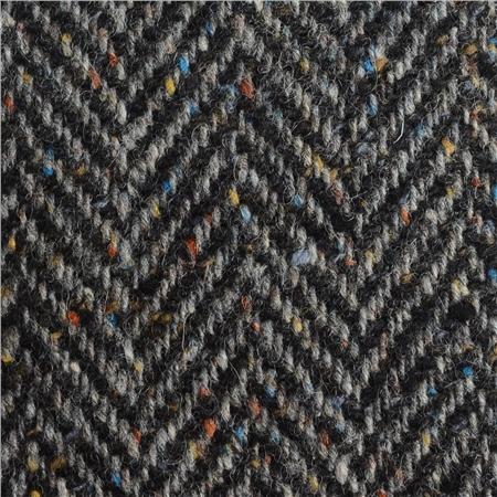 Black Grey Herringbone Flecked Donegal Tweed Seasonal