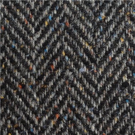Black & Grey Herringbone Flecked Donegal Tweed  - Click to view a larger image