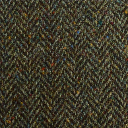 Green Herringbone Flecked Donegal Tweed  - Click to view a larger image