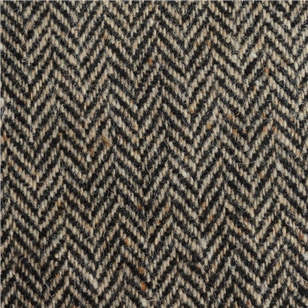 Black & Oat Herringbone, Flecked Donegal Tweed  - Click to view a larger image