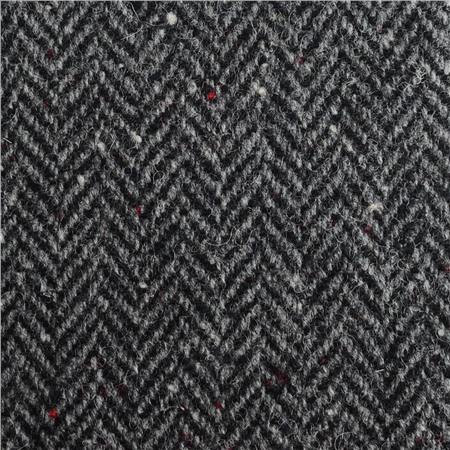 Black & White Herringbone, Flecked Donegal Tweed  - Click to view a larger image