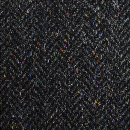 Black & Grey Herringbone, Flecked Donegal Tweed  - Click to view a larger image