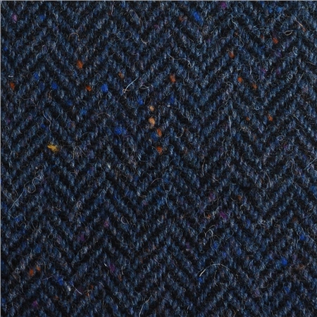 Blue & Black Herringbone, Flecked Donegal Tweed  - Click to view a larger image