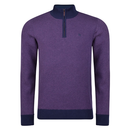 Purple Cotton Birdseye Quarter Zip Classic Fit Sweater  - Click to view a larger image