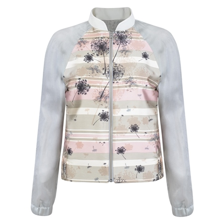 Cream & Pink Dandelion Print Bomber Jacket  - Click to view a larger image