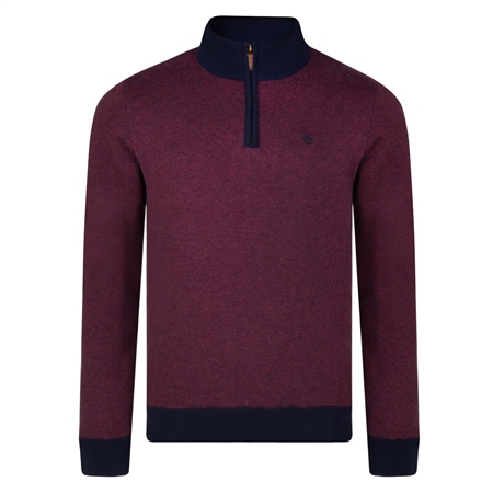 Raspberry Cotton Birdseye Quarter Zip Classic Fit Sweater   - Click to view a larger image