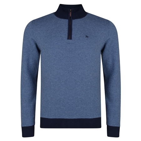 Blue Cotton Birdseye Quarter Zip Classic Fit Sweater  - Click to view a larger image