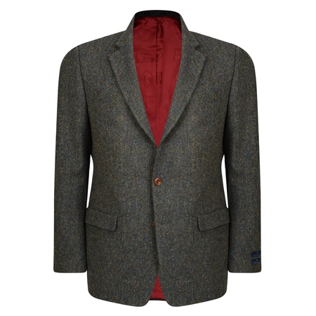 Green Handwoven Salt & Pepper Donegal Tweed Classic Fit Jacket  - Click to view a larger image