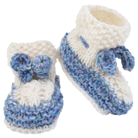 Blue & White Hand Knit Baby Booties