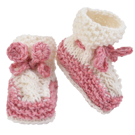 Hand Knit Pink & White Baby Booties  - Click to view a larger image