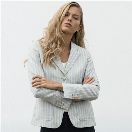 Blue & White Striped Alicia Patch Pocket Blazer   - Click to view a larger image