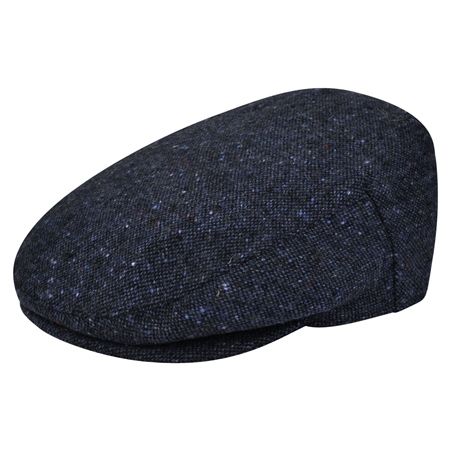 Navy Salt & Pepper Donegal Tweed Flat Cap  - Click to view a larger image