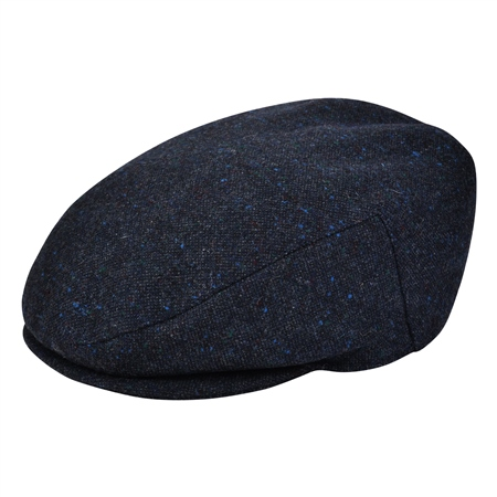Charcoal Salt & Pepper Donegal Tweed Flat Cap   - Click to view a larger image