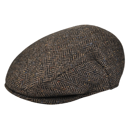 Dark Brown Herringbone Donegal Tweed Flat Cap   - Click to view a larger image