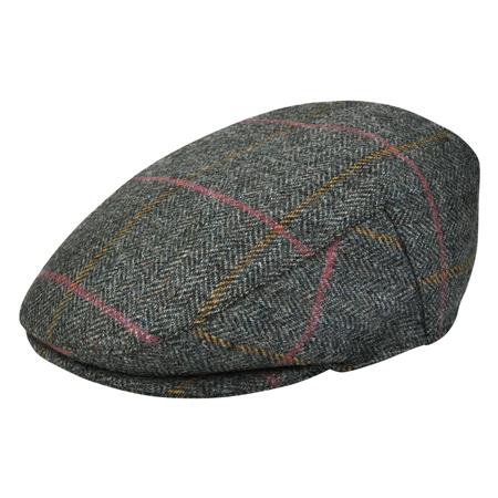 Grey Check Donegal Tweed Flat Cap   - Click to view a larger image