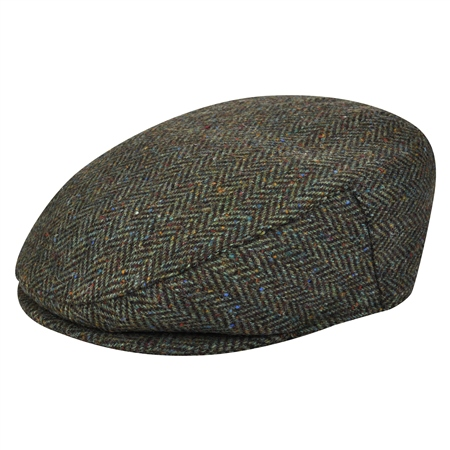 Green Herringbone Donegal Tweed Flat Cap   - Click to view a larger image
