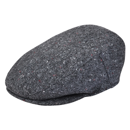 Grey Salt & Pepper Donegal Tweed Flat Cap  - Click to view a larger image