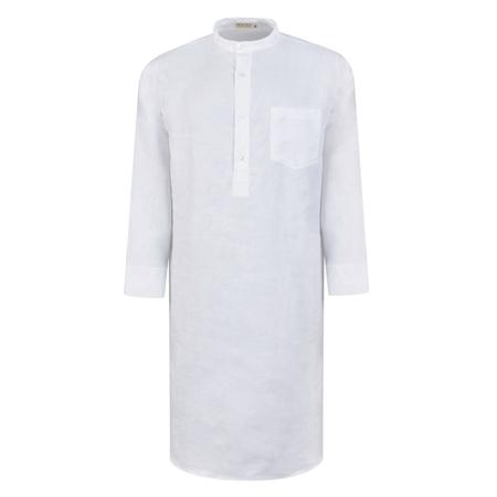 White Irish Linen Grandfather Night Shirt  462f92326