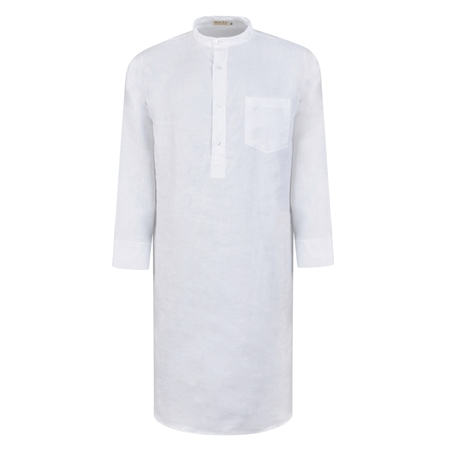 White Irish Linen Grandfather Night Shirt  - Click to view a larger image
