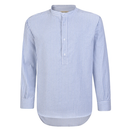 Blue & White Striped Irish Cotton Grandfather Shirt   - Click to view a larger image