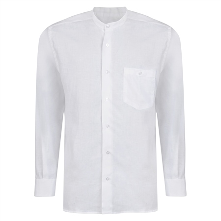 White Irish Linen Grandfather Shirt   - Click to view a larger image