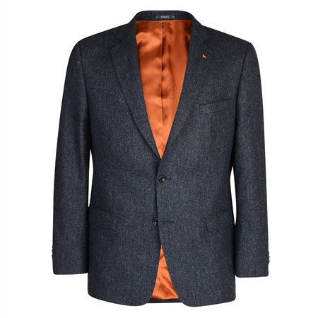 Charcoal & Blue Herringbone Donegal Tweed Classic Fit Blazer  - Click to view a larger image