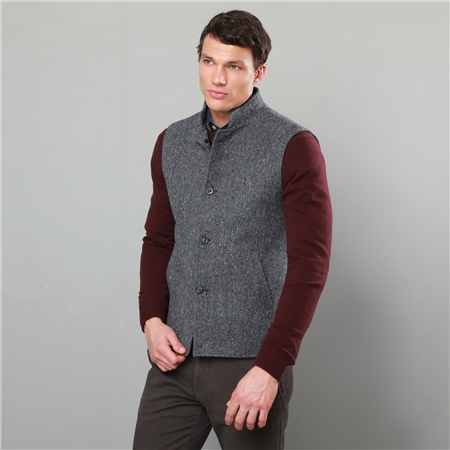 Grey Cavan Donegal Tweed Tailored Fit Gilet  - Click to view a larger image