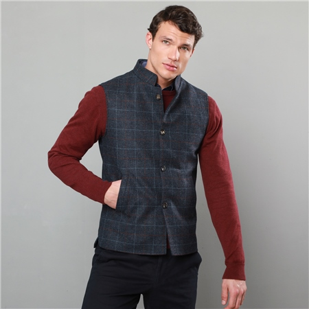 Blue & Rust Cavan Checked Tweed Tailored Fit Gilet  - Click to view a larger image